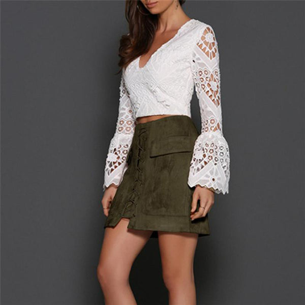 dacc0b13d8 ... Women Vintage High Waist External Pocket Tight Suede Lace Up Skirt  Autumn Winter Thick Pencil Skirt ...
