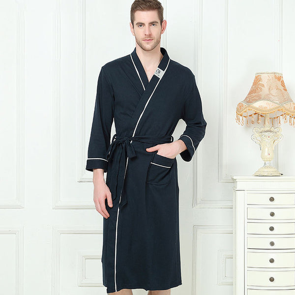bfcf2cfab3 ... XMS Brand Bamboo Fiber Men s Stain Robe Bamboo Bathrobe Men Sleepwear  Modern Style Soft Embroidery Label ...
