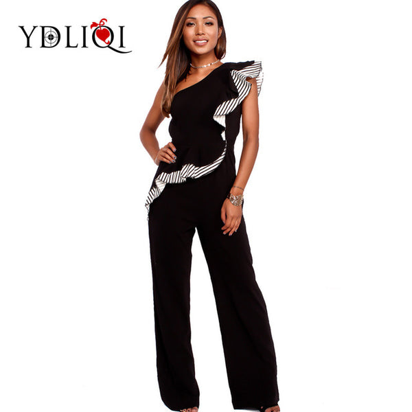 Ydliqi One Shoulder Plus Size Jumpsuit Big Size Women Club Wear