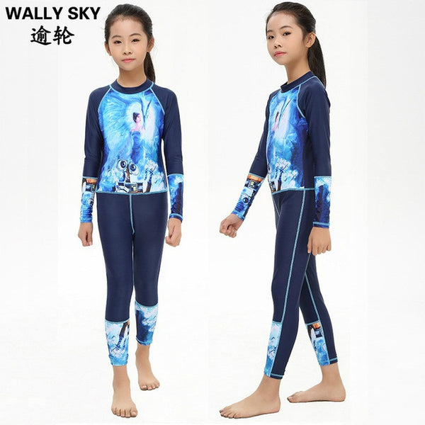 Youth Kids Grils Rash Guard Swimming Suit Full Body Bathing Suit