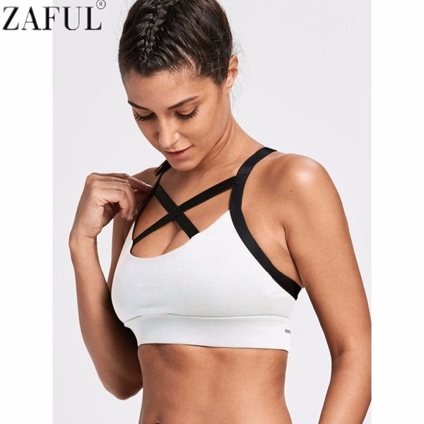 b62976711e5a9 ... ZAFUL Women Yoga Bra Sports Bra for Running Gym Fitness Athletic Bras  Padded Push Up Tank ...