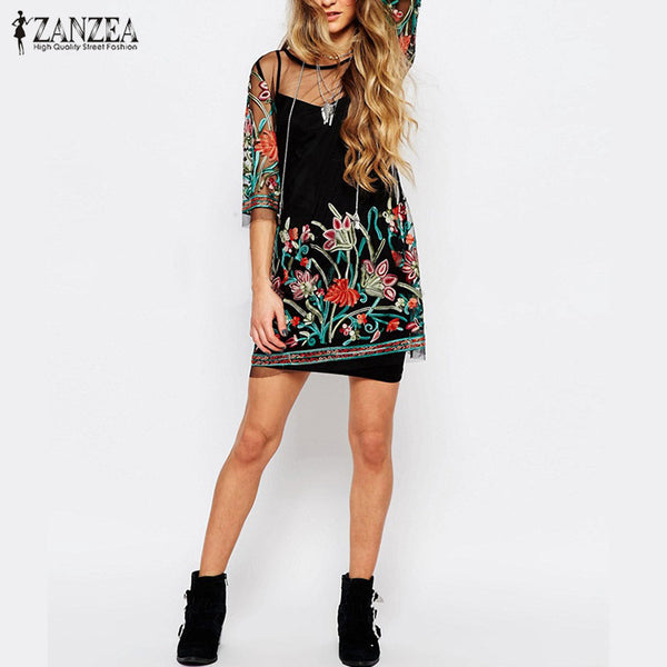 ... ZANZEA Women Summer Dress 2018 Boho Vintage Floral Embroidery Lace Mesh  Mini Dresses Casual See Through ... fcaf19b8a999