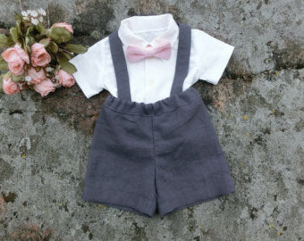 49af1a329 Charcoal ringbearer outfit. Baby pink bow tie. Baby boy shorts with ...