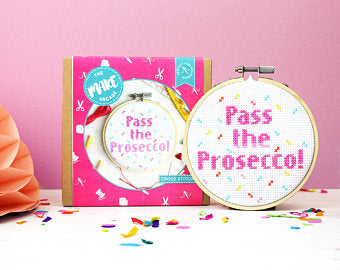 Cross stitch kit, modern cross stitch, cross stitch, DIY, prosecco gifts,