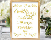 image about Mimosa Bar Sign Printable called Mimosa Bar Indicator, Bridal Shower Mimosa Bar Indication, Little one Shower Mimosa Bar Indicator, Printable Mimosa Bar Signal, Mimosa Bar Fast Obtain