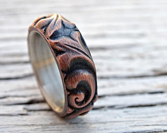Viking Wedding Ring Copper Leaf Ring Medieval Wedding Band Mens Proposal Ring Textured Copper Ring Leaves Copper Anniversary Gift Ring