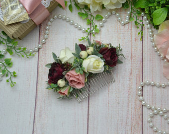 e50b31a9555aa Gift for friend Flower comb Burgundy headpiece Blush flower comb Ivory hair  comb, Wedding floral comb, Bridal flower comb, Boho wedding comb