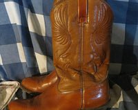 4228c08db36 Men's Vintage DINGO Cedar Brown Leather Cowboy Boots Vtg Rugged Two Tone  Western Boots Made in USA 10.5