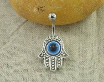 Belly Button Jewelry Hamsa Hand Belly Ring Evil Eye Belly Button Rings Blue Eye Jewelry