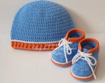 Crochet Baby Set Baby Boy Hat Unisex Baby Booties Shoes Beanie