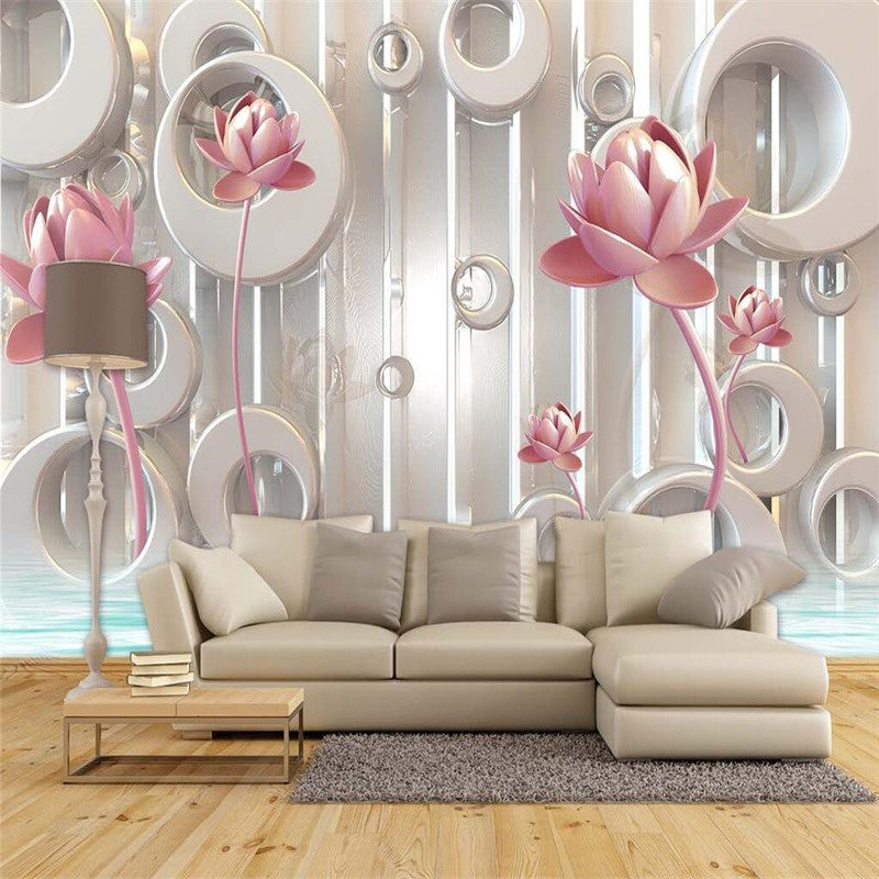 3D Photo Wallpaper Golden Lotus Living Room TV Wall Wallpaper Backdrop  Wallcovering Large Wall Mural Wallpaper Part 38