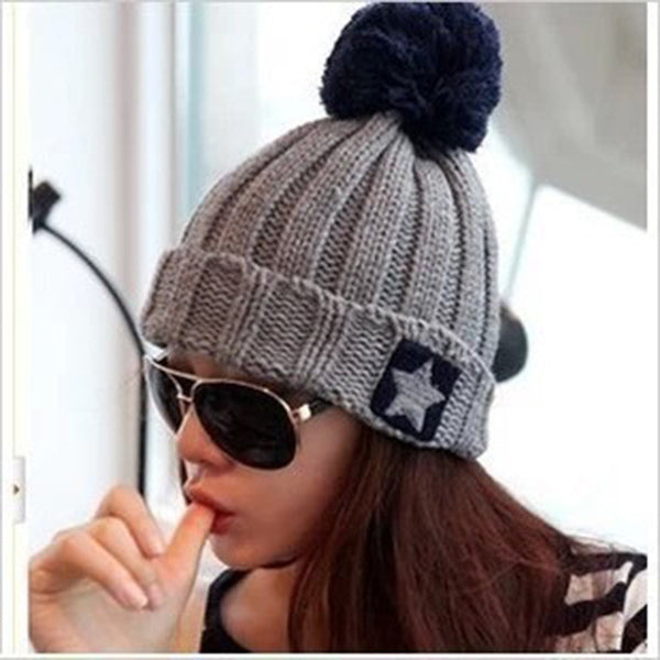 f1df7ec822d Aliexpress 2016 Autumn Winter Female Hats Hot Selling Five - pointed Star  Label Design Knitting Ball ...