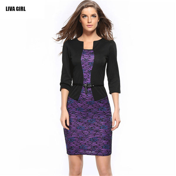 New 2016 Three Quarter Sleeve Women Dress Casual Lace Dresses