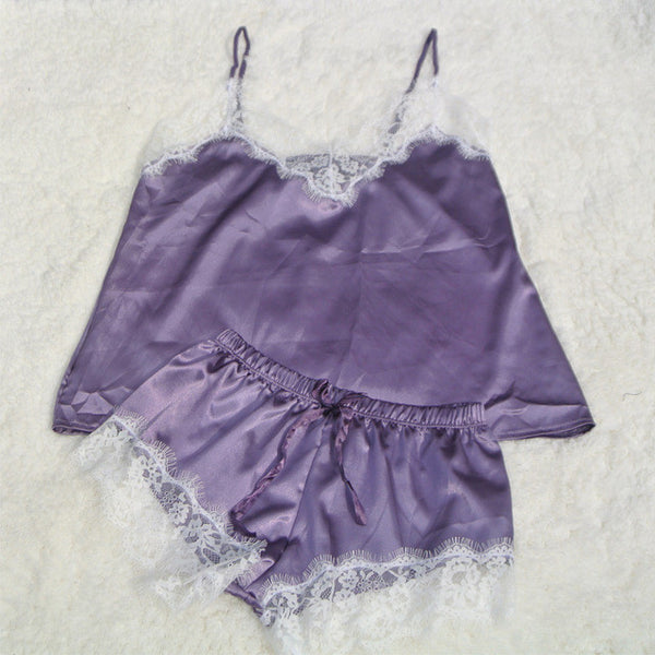 552aa9d2e ... Satin Cami and Shorts Set Lace Nightgowns Comfy Pajamas Pretty Nighties  Artificial Silk Sleepwear Sets ...