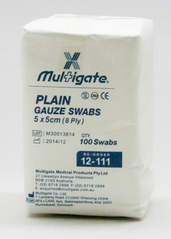 5 x 5 (8 Ply) ~ NON-WOVEN SWABS ~ 100 x SWABS ~ MULTIGATE Collection