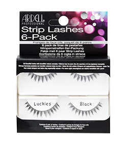 LUCKIES BLACK ~ 6 SETS - MULTIPACK ~ NATURAL STRIP LASH RANGE ~ ARDELL Collection