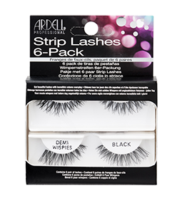 DEMI WISPIES BLACK ~ 6 SETS - MULTIPACK ~ NATURAL STRIP LASH RANGE ~ ARDELL Collection