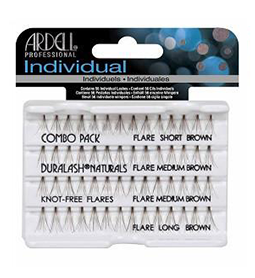 COMBO SIZES BROWN ~ KNOT-FREE FLARED INDIVIDUAL LASHES ~ ARDELL Collection