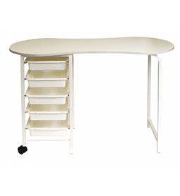 KIDNEY ~ MANICURE TABLE (5 Drawer) ~ WHITE ~ JOIKEN Collection