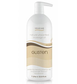 UNSCENTED ~ GLISTEN ~ MASSAGE OIL ~ 1 Litre ~ NATURAL LOOK Collection