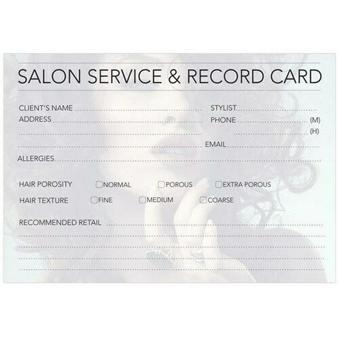 Professional Salon Service Hairdressing Record Cards 100pk