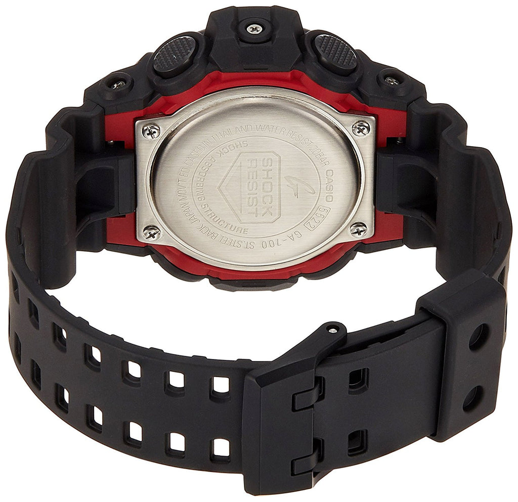 CASIO G-SHOCK MENS BLACK/ RED WATCH GA-700-1ADR