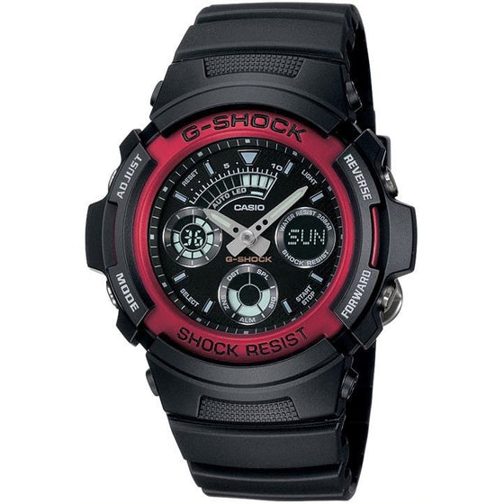CASIO G-SHOCK ANALOGUE/ DIGITAL MENS WATCH RED/ BLACK AW-590-4ADR