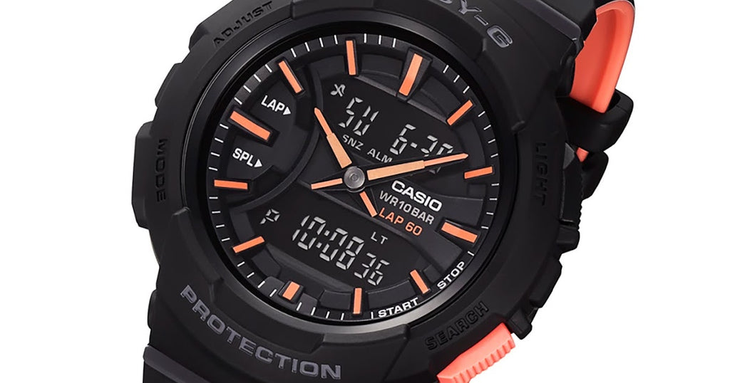 CASIO BABY-G ANALOGUE/ DIGITAL LADIES BLACK X NEON WATCH BGA-240L-1ADR
