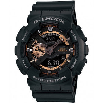 CASIO G-SHOCK ANALOG/ DIGITAL MEN WATCH BLACK X GOLD GA-110RG-1ADR
