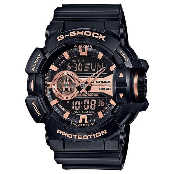 BUY CASIO G-SHOCK MENS BLACK/ ROSE GOLD WATCH GA-400GB-1A4DR