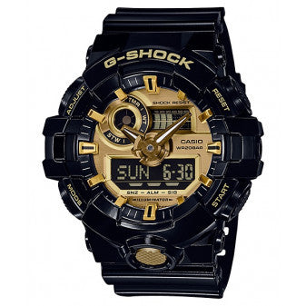 CASIO G-SHOCK ANALOG/ DIGITAL MENS BLACK/ GOLD  WATCH GA-710GB-1ADR