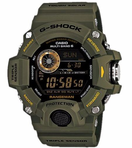 CASIO G-SHOCK DIGITAL RANGEMAN MATT GREEN TRIPLE SENSOR MEN WATCH GW-9400-3