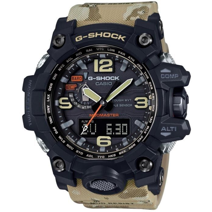 CASIO G-SHOCK MILITARY ANALOGUE/DIGITAL TWIN SENSOR SOLAR MUDMASTER CAMO WATCH GWG-1000DC-1A5