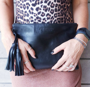 Black leather clutch Ipad Case with tassels