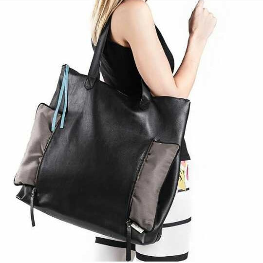 black leather gym bag for women