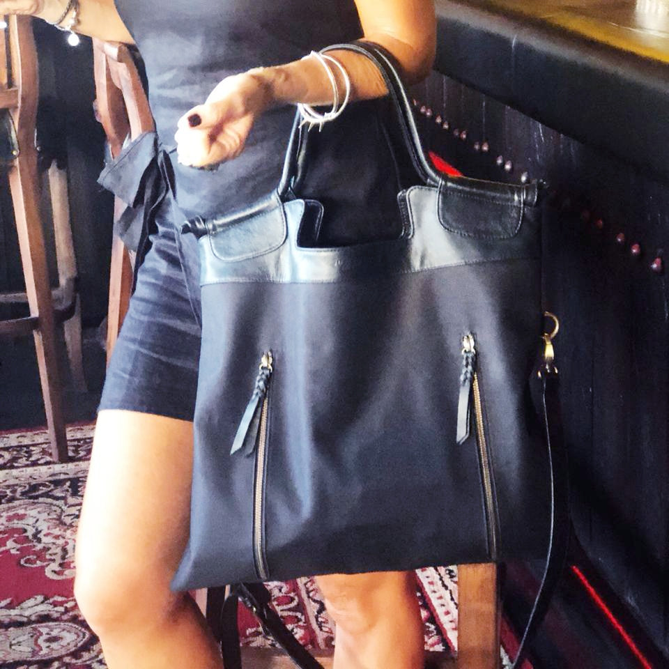 black leather and nylon womens work bag and cross body sathchel