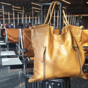 brown leather travel bag for women