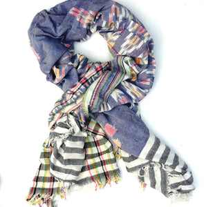 blue ikat sarong wrap scarf cotton