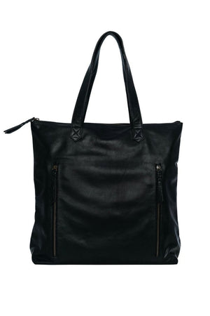 black leather work bag for women