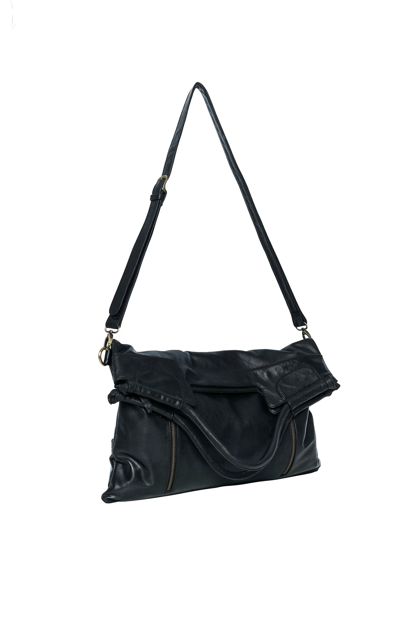 black leather cross body bag for women