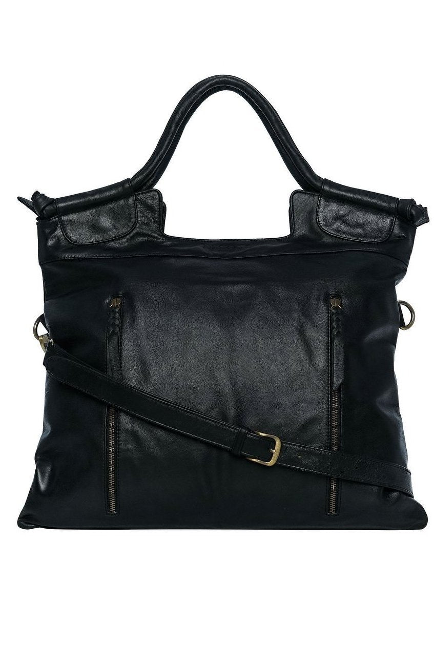 black leather work bag for women cross body bag