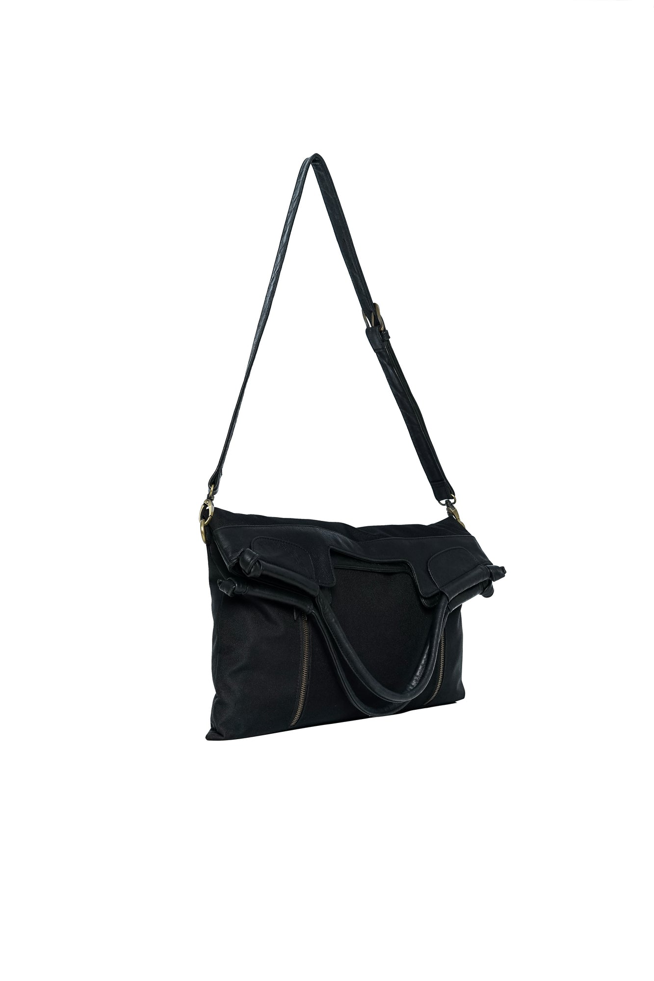 black leather and nylon cross body bag