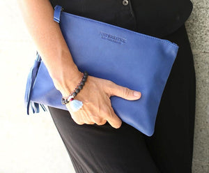 blue leather clutch leather ipad case