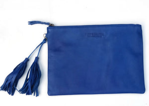 blue leather clutch leather ipad case with tassel