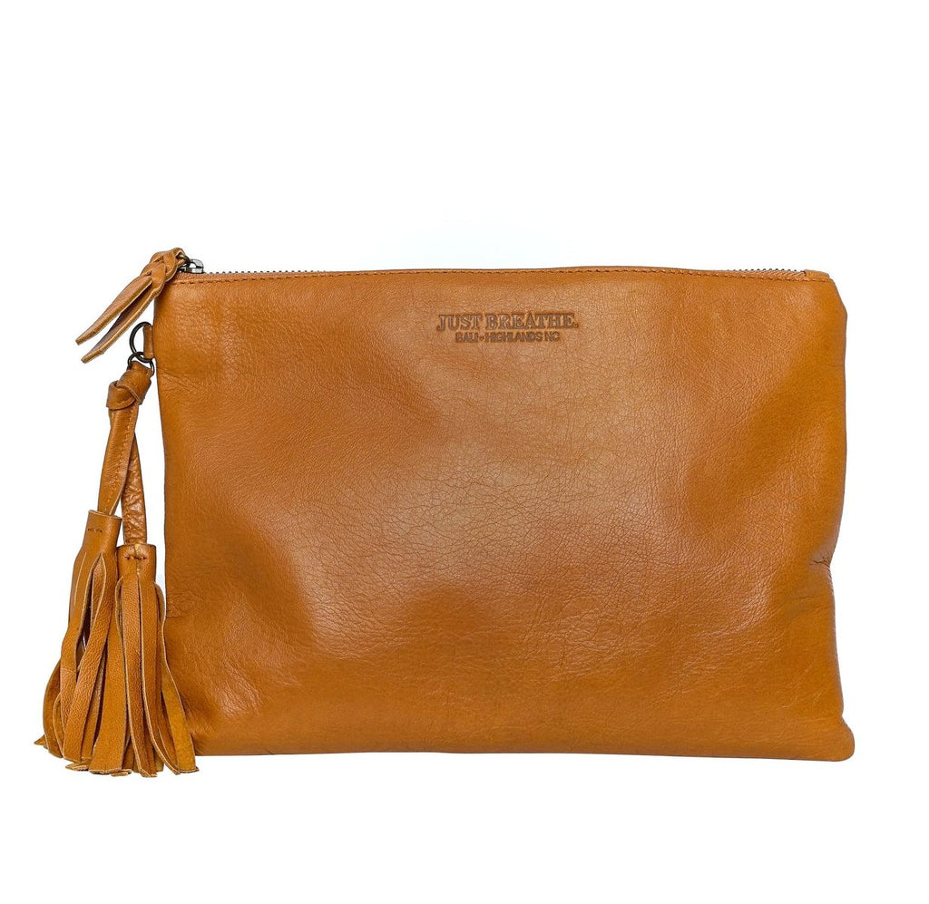 brown leather clutch Ipad case with tassels