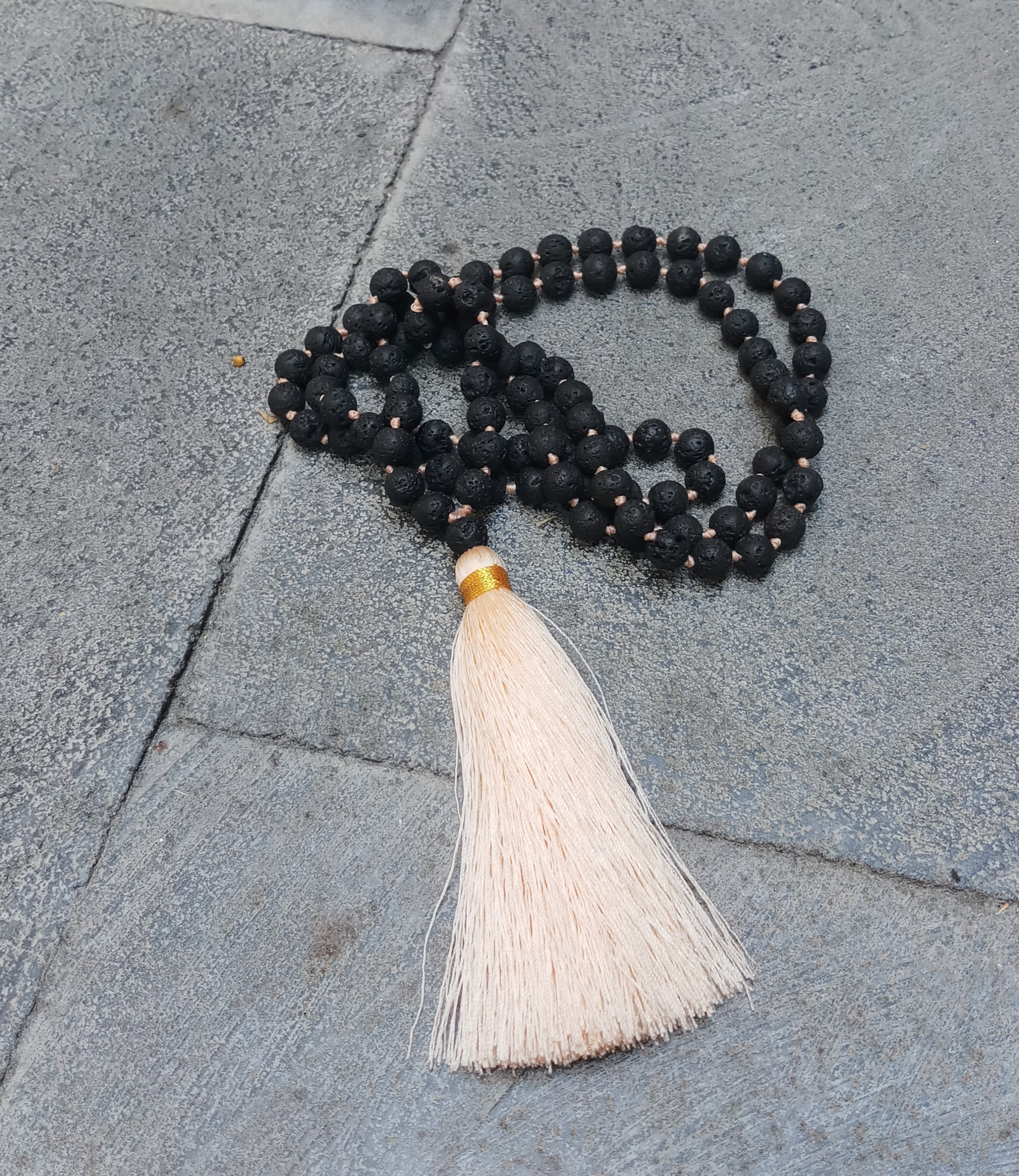 yoga necklace meditation necklace mala necklace with lava stones made in Bali