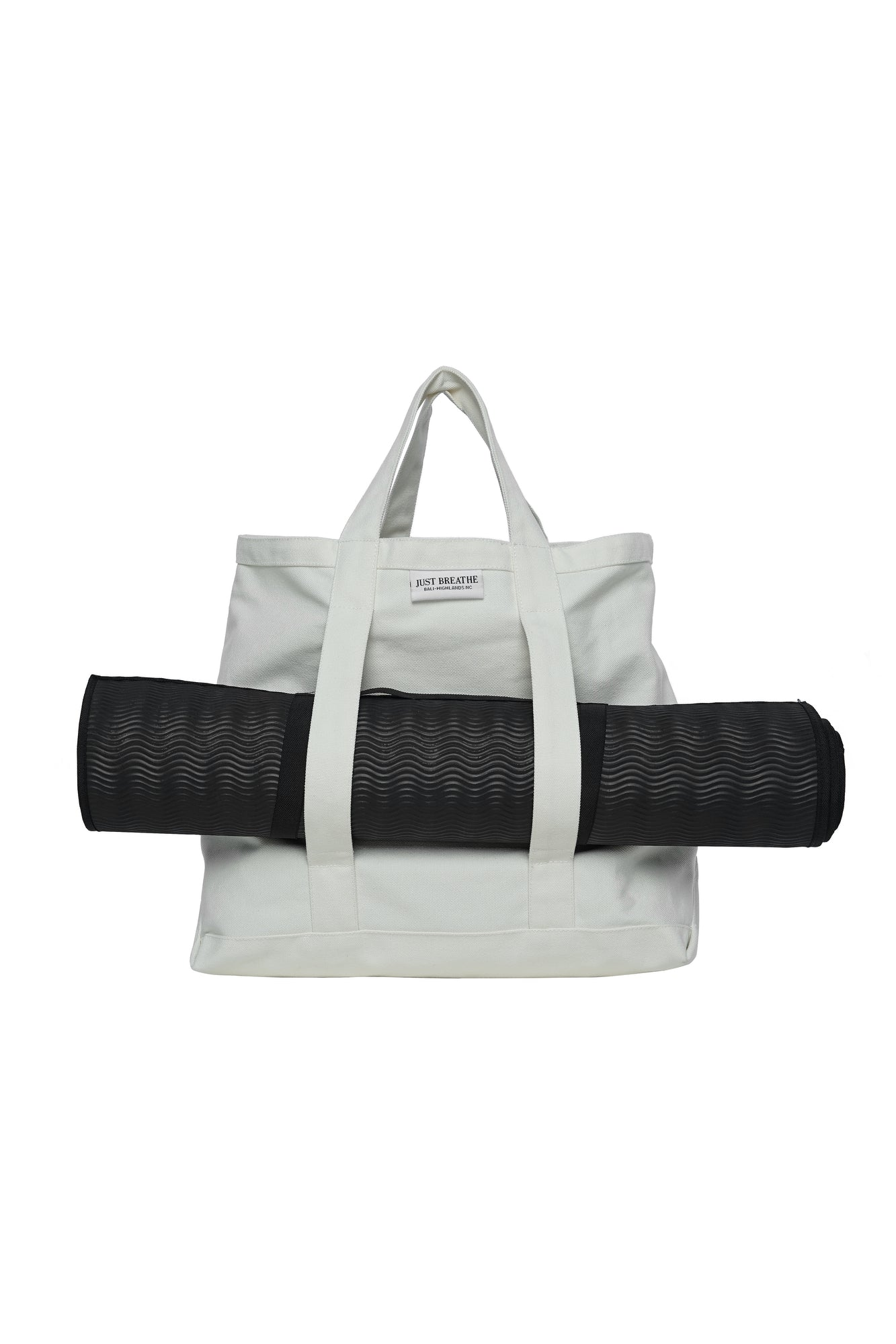 white canvas market style yoga bag beach bag