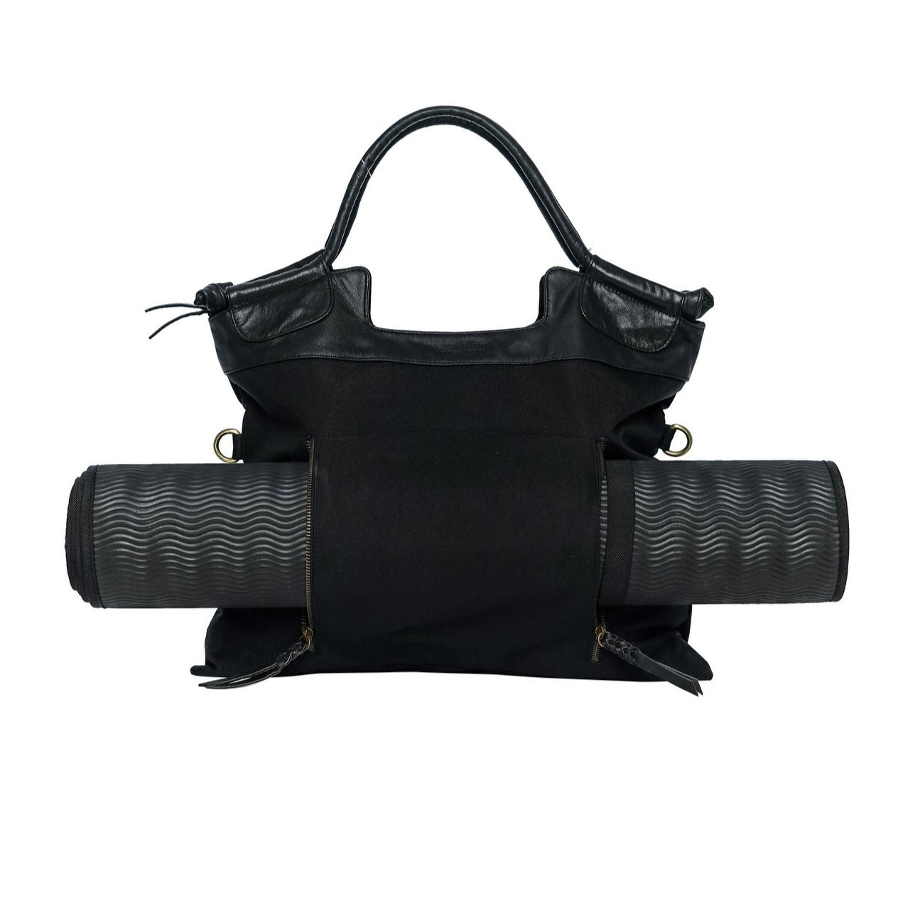 black leather and nylon yoga bag