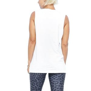 womens white muscle tee just breathe