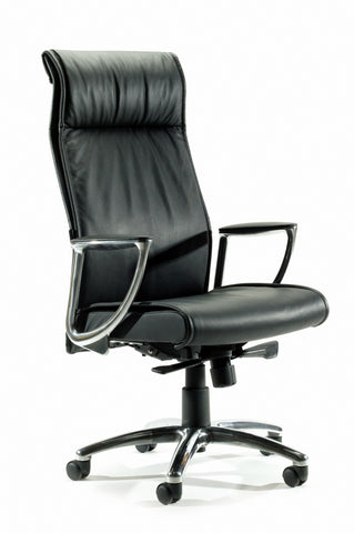 Bentley Highback Chair - Black Leather - commercial traders office furniture